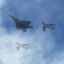 """This one is for you, Bob Hoover! The Best of the Best! Heritage flight of the F-22 and his favorites, the F-86's. For more on his incredible life and contributions to aviation, read his autobiography """"Forever Flying"""" or watch the documentary by Kim Furst """"Flying the Feathered Edge""""."""