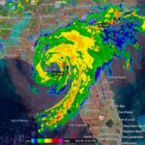 A radar picture of a hurricane that rolled through Florida and up the northeast coast. We do not fly in or near these types of weather systems.