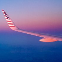 incredible shot of Virgin A320 wing as the sunset